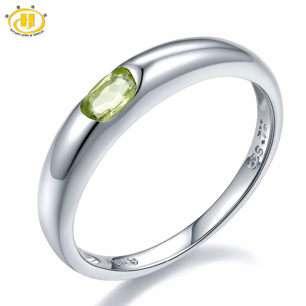 Hutang Wedding Women's Ring Natural Peridot Green Gemstone 925 Sterling Silver Band Tail Rings Fine Elegant Jewelry New Arrival