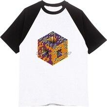 Geek Rubik cubo laberinto 3D impresión regalo hombres algodón manga raglán  camisetas novio fresco geométrica Tops f38398760eb