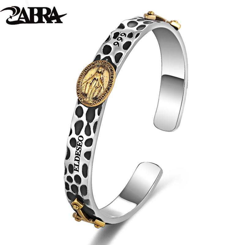 ZABRA Virgin Mary Double Cross Gold Color 8mm Open Cuff Bangle Bracelet for Mens Women 999 Sterling Silver Christian Jewelry delicate double layered cuff bracelet for women