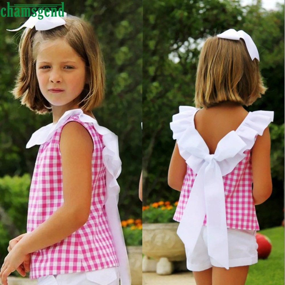 CHAMSGEND Summer Toddler Kids Girls Bow Plaid T-shirt Tops Short Pants Clothes Outfits Set drop ship  july1 P30 girls in pants third summer