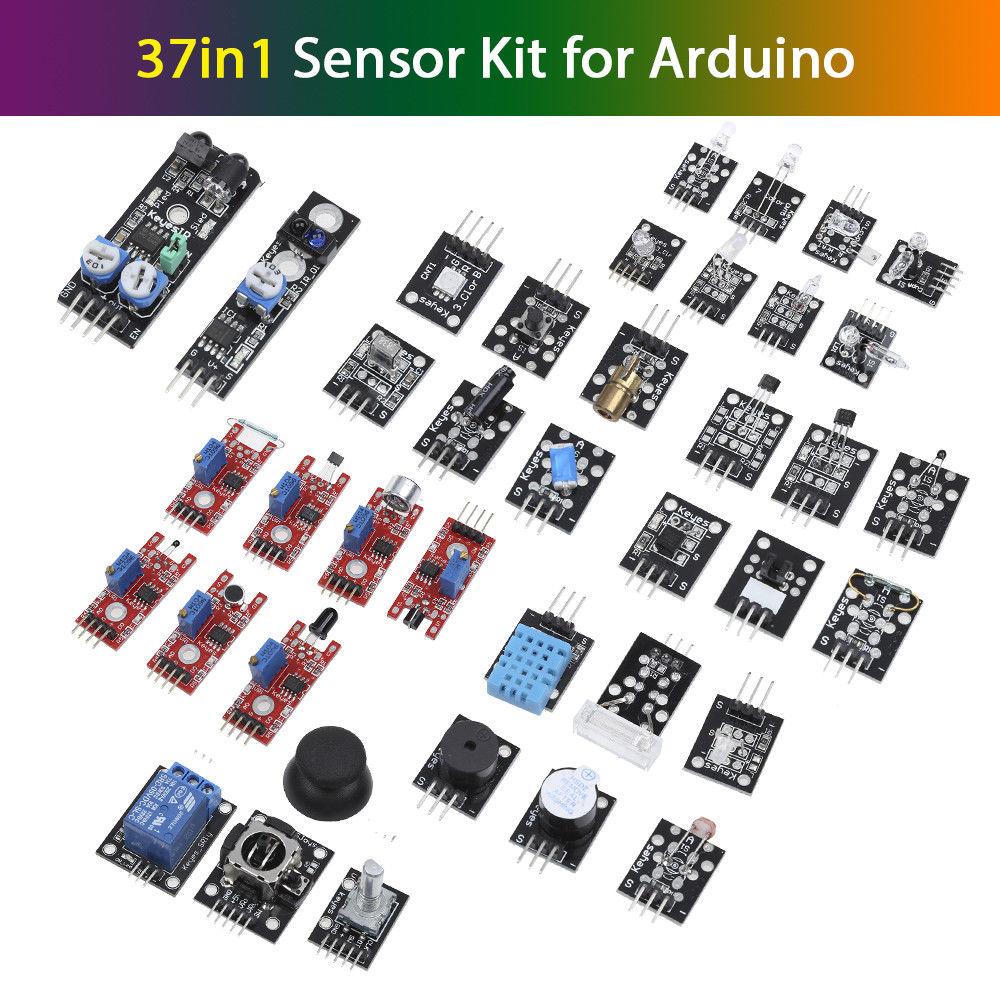 Keyes 37 In 1 Sensor Modules Kit Set For Arduino MCU Education User Box Sound Joystick Free Shipping keyes analog temperature sensor for arduino red white