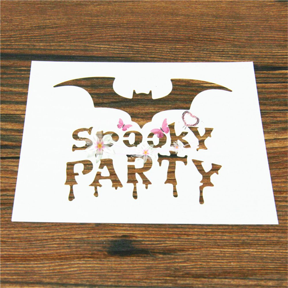 Bat Spooky Party Halloween Reusable Stencil Airbrush Painting Art Cake Spray Mold DIY Decor Crafts For Walls