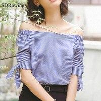 SDRawing Slash Neck Blouse Shirt Women Tops 2017 Autumn Casual Blue Striped Shirt Long Sleeve Cool