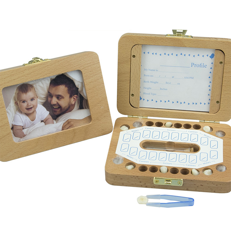 English Wood Baby Teeth Box Save Milk Teeth Wood Storage Collecting Teeth Umbilical Cord Lanugo Baby Souvenirs Baby Teeth Box