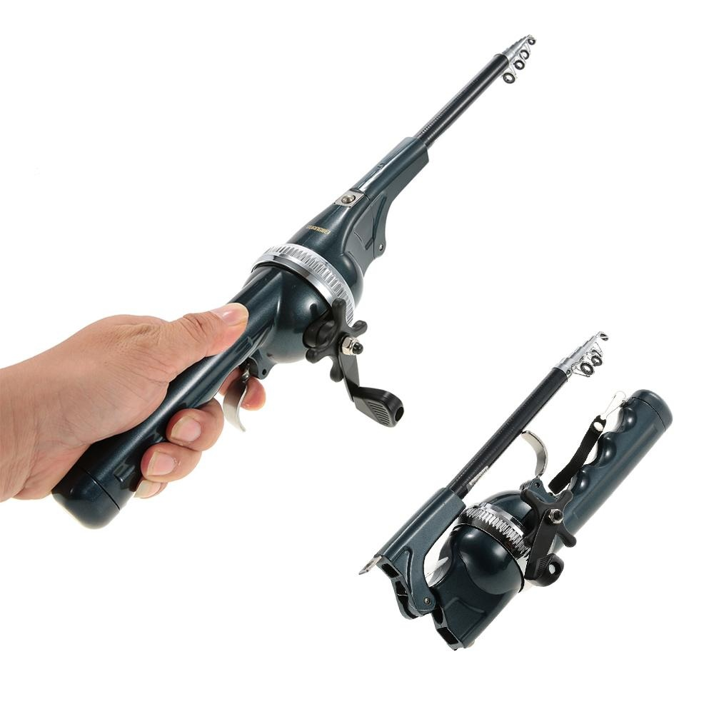 Pole Combo Fiberglass Fishing Rod Reel Lure Fishing Spinning Rod Fish Tackle Set + Line 133cm Folding Mini Telescopic Fishing