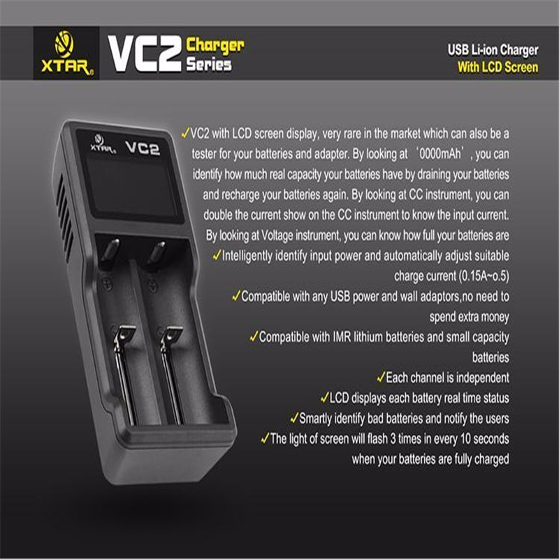 XTAR VC2 מטען עבור 10440/16340/14500/14650/17670/18350/18490/18500/18650/18700/26650/ 22650/ טעינת סוללה
