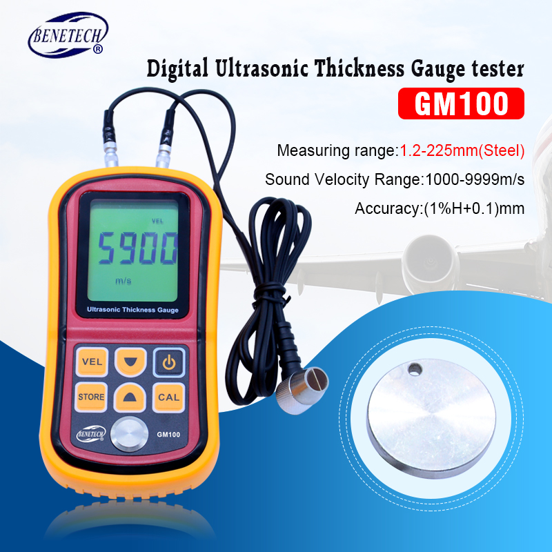 GM100 Digital LCD display Ultrasonic Thickness Gauge Metal Testering Measuring Instruments 1.2 to 200MM Sound Velocity Meter