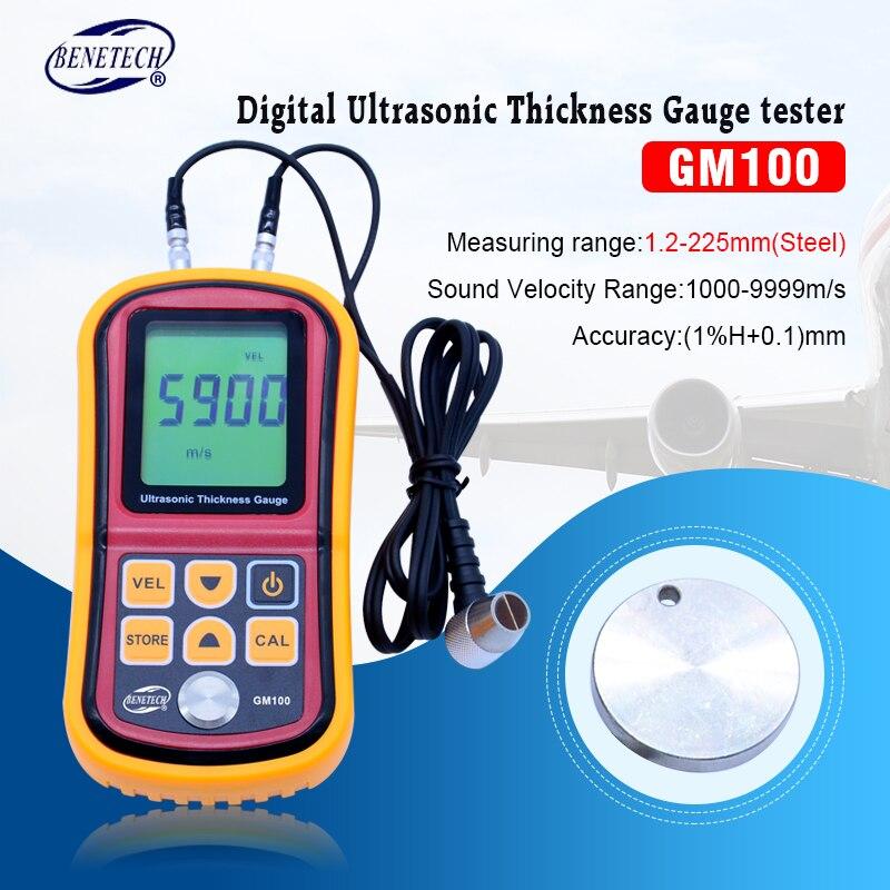 GM100 pantalla LCD Digital medidor de espesor ultrasónico de Testering instrumentos de medición de 1,2 a 200mm de sonido medidor de velocidad