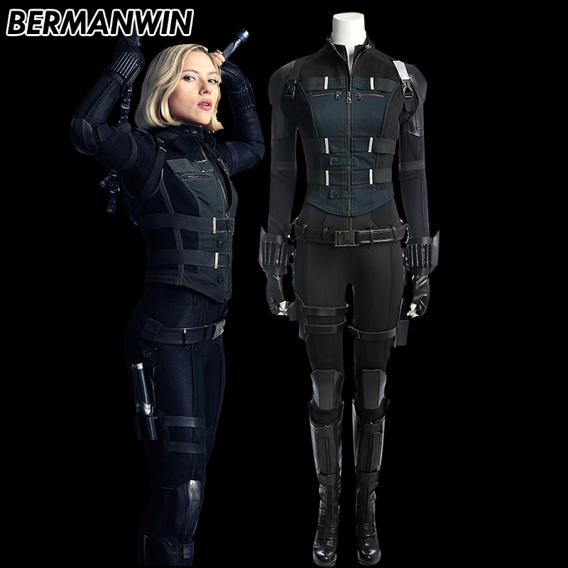 BERMANWIN High Quality Avengers Infinity War black widow costume Natasha Romanoff costume Adult Women Halloween Cosplay Costume