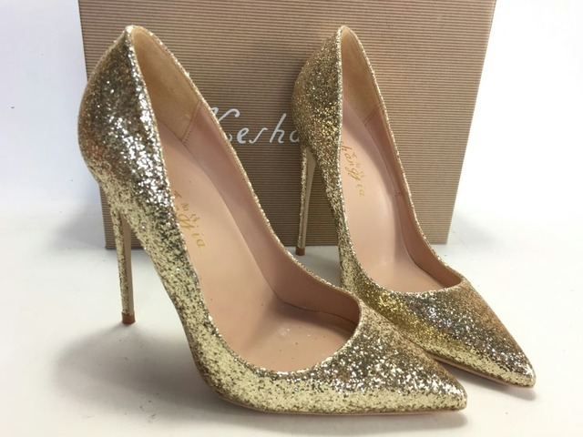 0a1b54006c25 Keshangjia Gold Glitter Sparkling Women Pumps Thin High Heels Shoes Woman  2018 Pointy Toe Stiletto Sexy Sandals