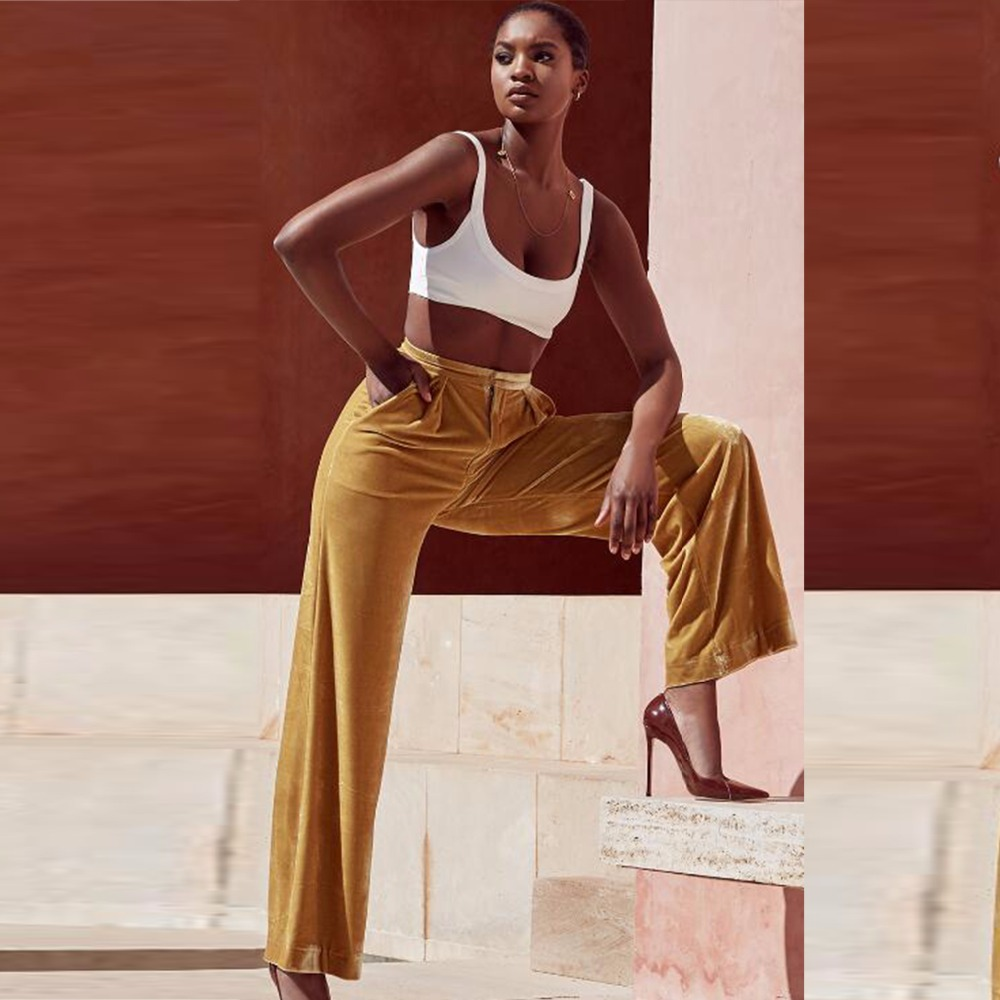 Rayón Mujer Flare Oro De Vendaje Color Alta Nueva Moda Flacos Pantalones Botón Naranja qOIPt