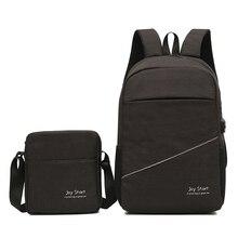 Купить с кэшбэком 2 Pcs Set Men Leisure Travel Bags Mens Multi-function Backpack Bag For Laptop 15.6 Inch Girls Schoolbag Male Small Shoulder Bag