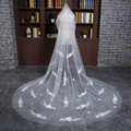 2016 White/Ivory Appliqued Mantilla Cathedral Wedding Veil Bridal Veil Long With Comb Wedding Accessories MD3004