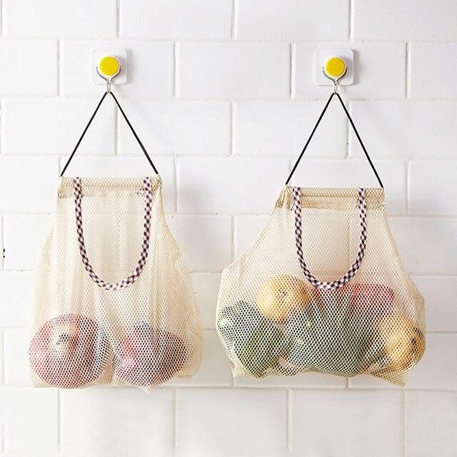 Produtos de mercearia reutilizáveis sacos de algodão malha ecologia mercado corda rede sacola de compras cozinha frutas legumes saco de suspensão