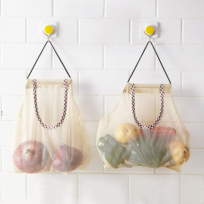 Reusable Grocery Produce Bags Cotton Mesh Ecology Market String Net Shopping Tote Bag Kitchen Fruits Vegetables Hanging Bag-in Bags & Baskets from Home & Garden