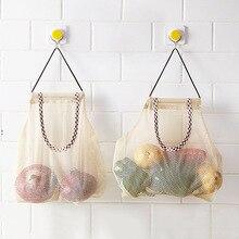 Wielokrotnego użytku torby z siatki spożywczej siatka bawełniana ekologia rynek siatka sznurkowa torba na zakupy typu tote kuchnia owoce warzywa torba do zawieszenia