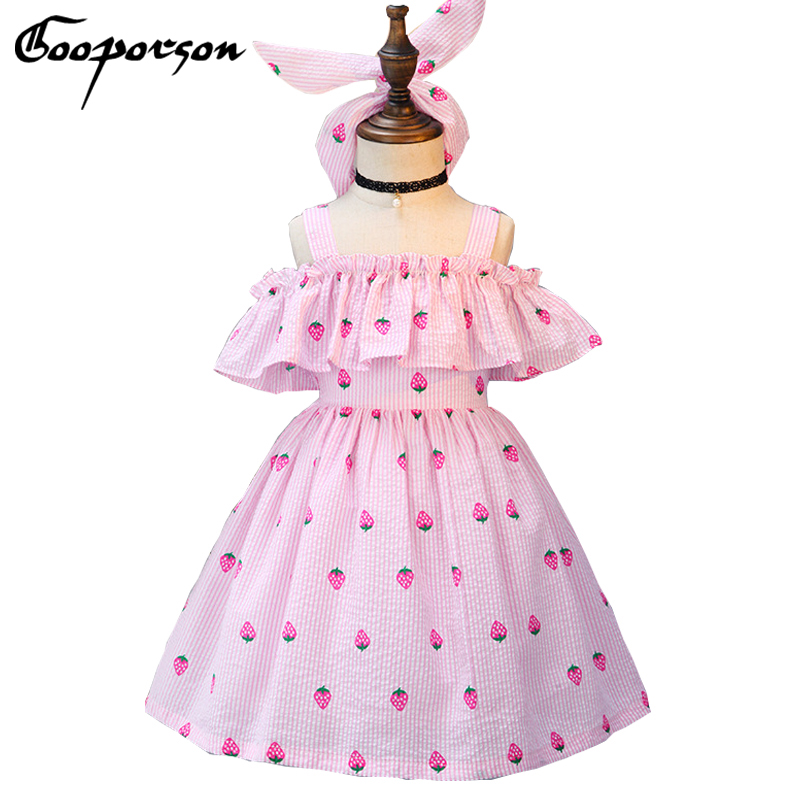 New Brand Kids Girl Dress Striped Lovely Strawberry Printed Summer Dress with Hairband Lotus Baby Girl's Clothes Dress Princess цены онлайн