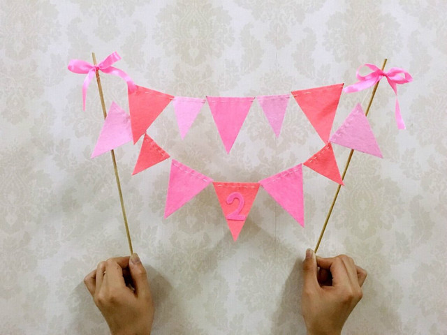 New Baby 2years Old Birthday Cake Bunting Banner Topper Picks Party Flags Decor Wedding
