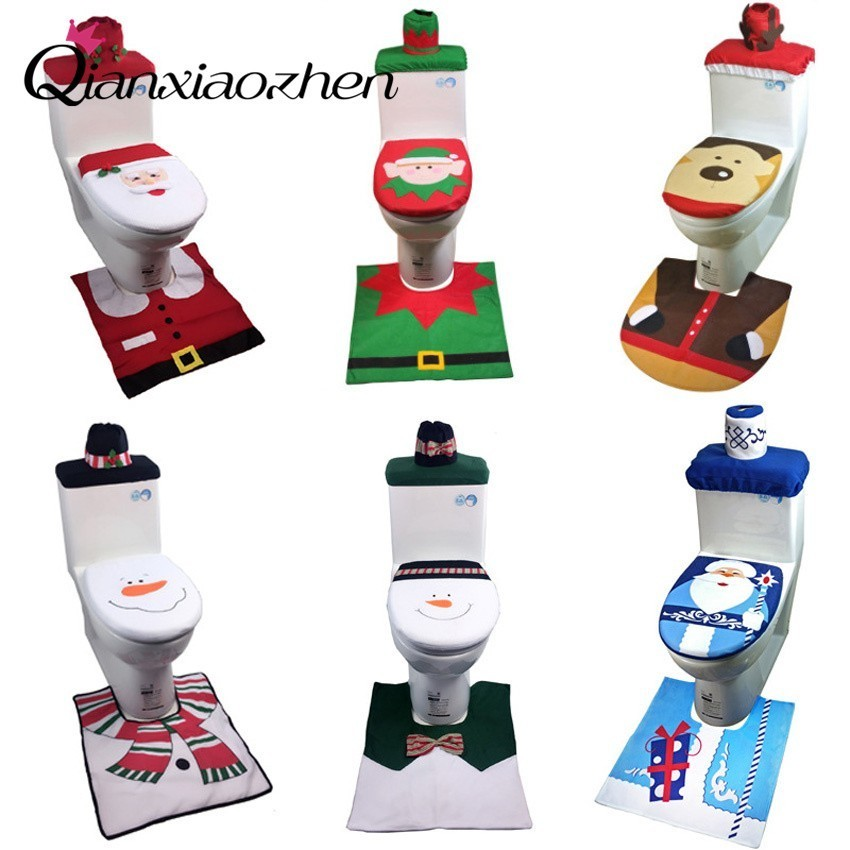 Qianxiaozhen Flannel Santa Claus Toilet Set Christmas Decorations For Home Christmas Accessories