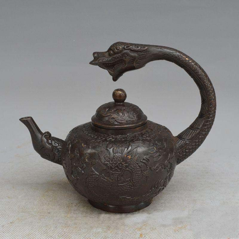 6 Old China Red copper Qing Dynasty Palace Dragon Handle Wine Tea Pot Flagon Q6 Old China Red copper Qing Dynasty Palace Dragon Handle Wine Tea Pot Flagon Q