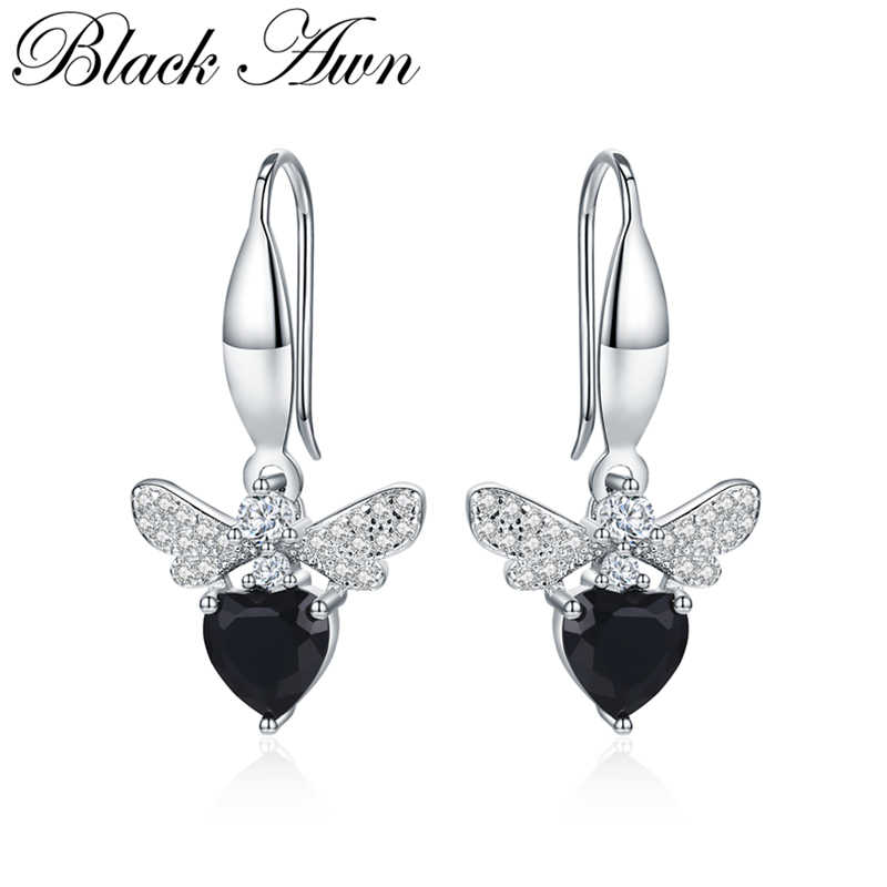 [BLACK AWN] Cute Natural Dragonfly 925 Sterling Silver Jewelry Wedding Drop Earrings for Women Boucle D'oreille I089