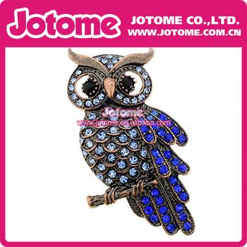 50mm Fashion Jewelry Gift Vintage Retro Plated Blue Rhinestone Owl Pin Rhinestone Brooch Pin for Uniform