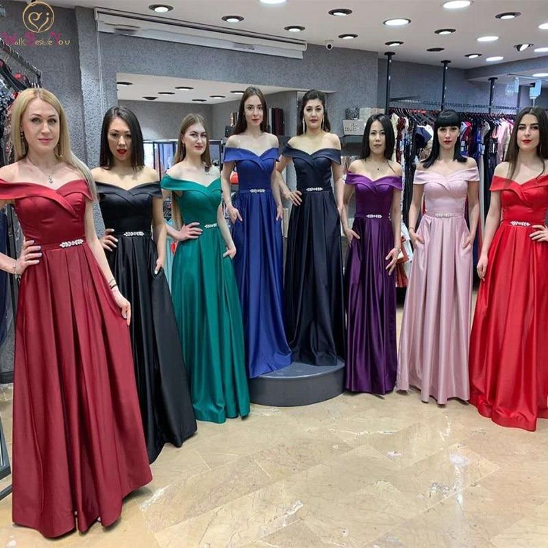 Bridesmaid Dresses Burgundy Honor Satin Long Off Shoulder Rhinestone Belt 2019 A Line Wedding Guest Dress Party Walk Beside You