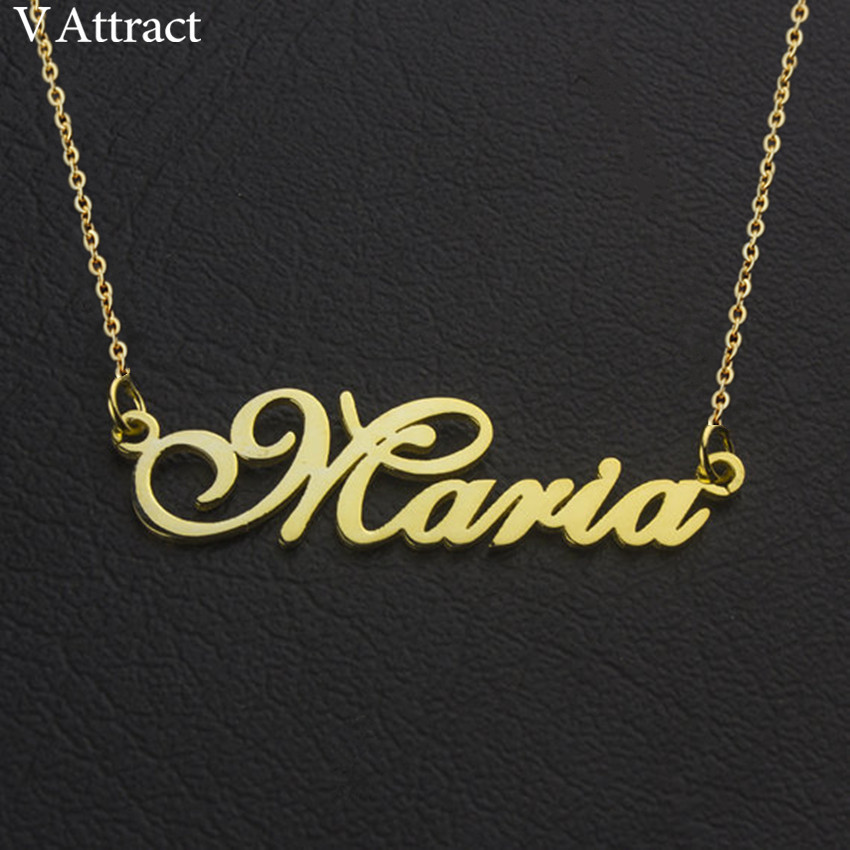 V Attract Bridesmaid Gift Personalized Name Necklace Women Men Jewelry Customized Nameplate Custom Arabic Colar Rose Gold Choker