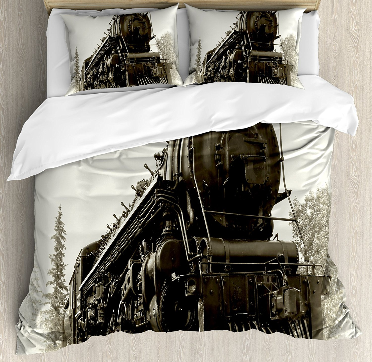 Duvet Cover Set, Antique Northern Express Train Canada Railways Photo Freight Machine Print, 4 Piece Bedding Set