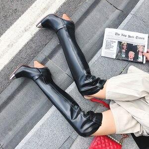 Image 4 - Morazoraプラスサイズ 34 45 本革の女性のブーツファッションbota ş ハイヒール膝のブーツ女性の秋冬のブーツ
