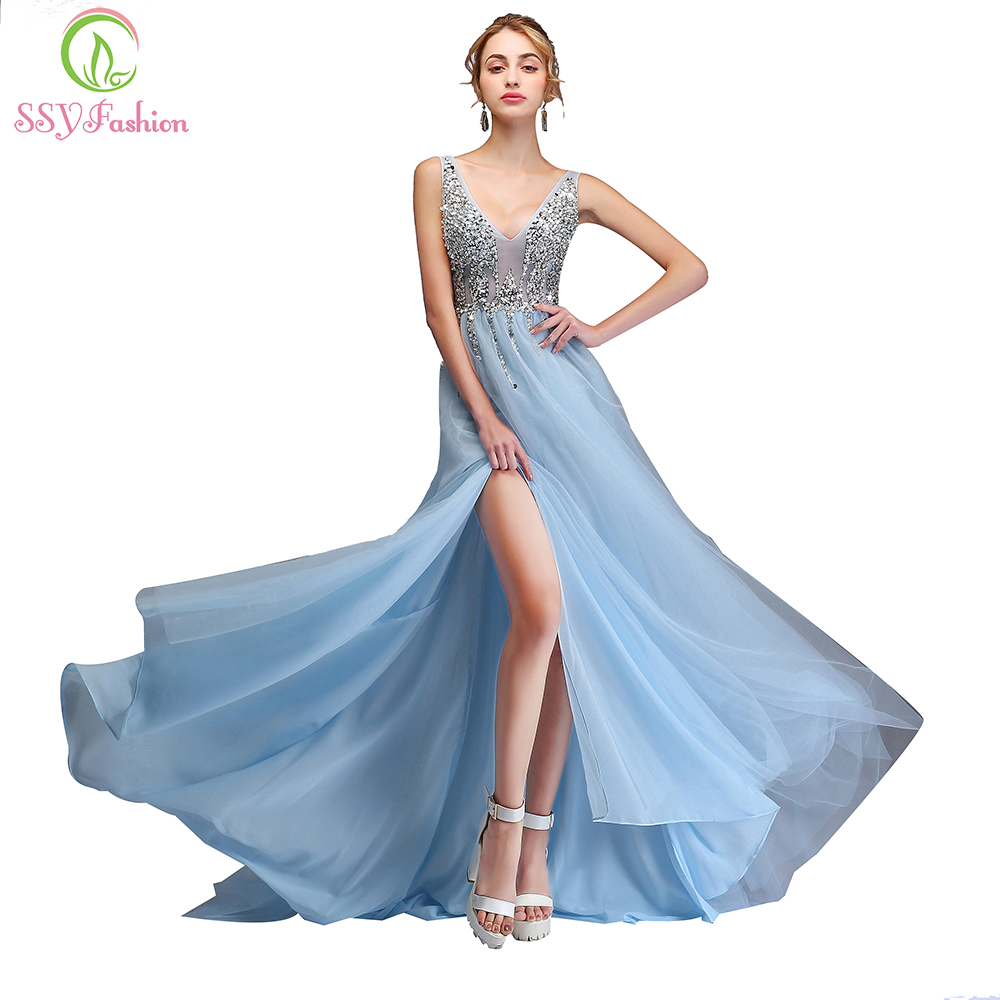SSYFashion New Sexy   Evening     Dress   Banquet V-neck Sweep Train Backless Long Formal Gown Custom Robe De Soiree Reflective   Dress