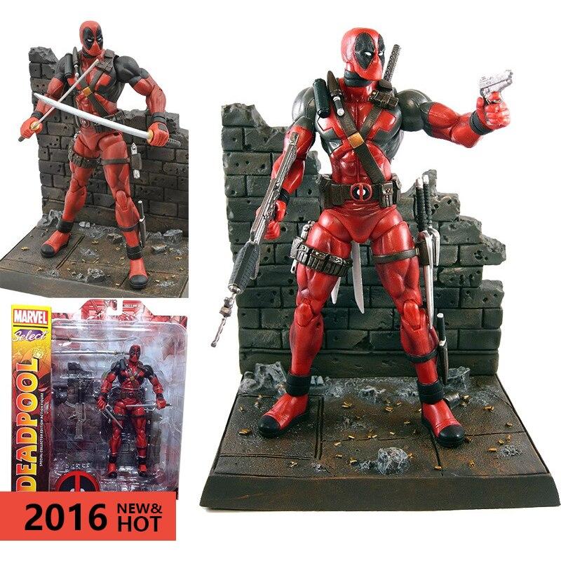 2016 X- Men's 23Cm Deadpool Figures Death With Scene Movable Boys Birthday Gift Action Figures Movie Edition Anime Figure 23 2016