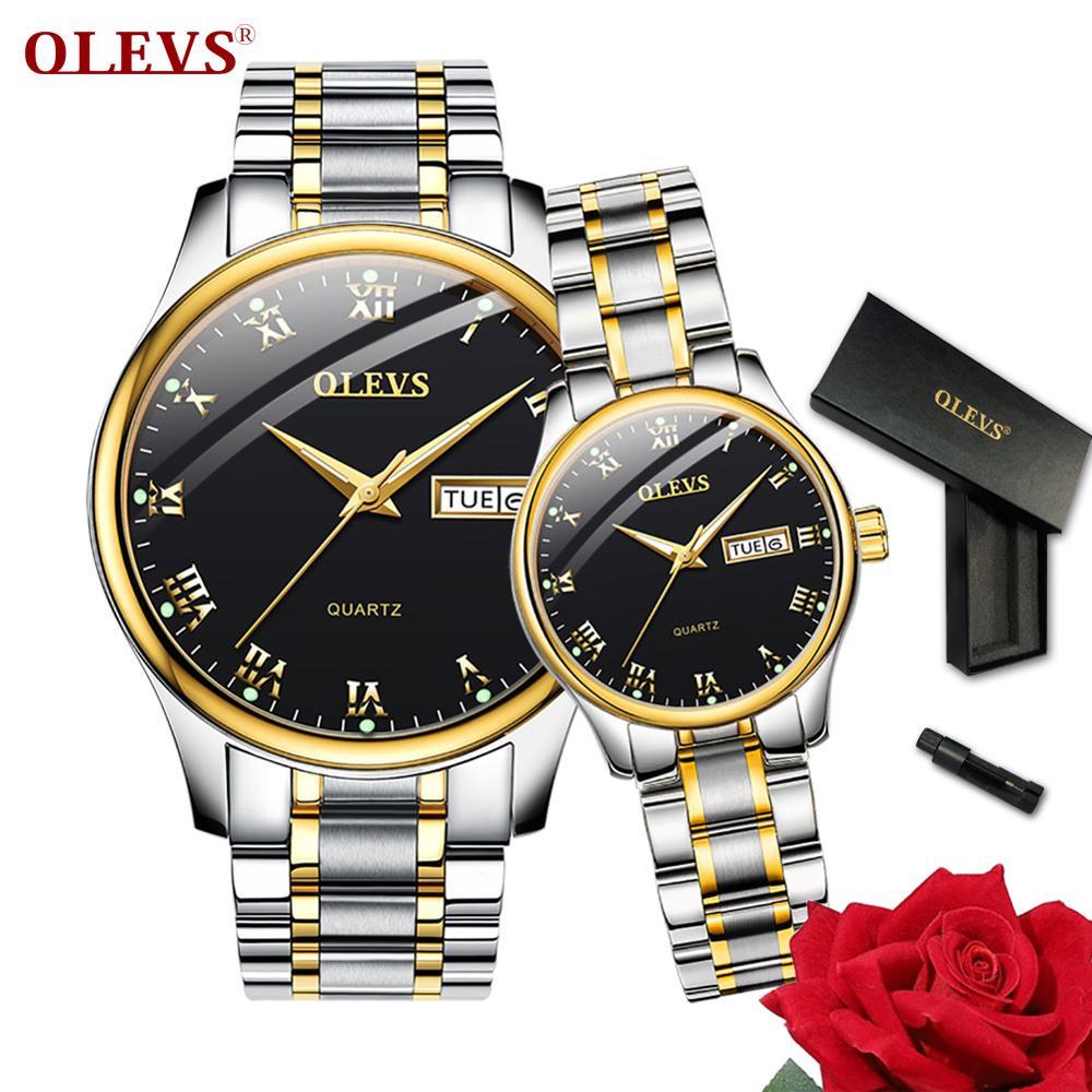OLEVS Men Watches Women Top Brand Luxury Couple Watch Auto Date Week Clock Stainless Steel Fashion Waterproof Watch Relogio Saat