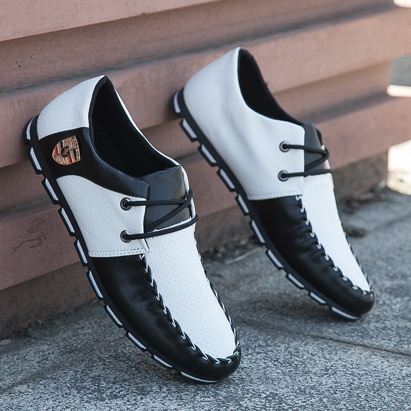 ew Brand Fashion Summer Soft Moccasins Men Loafers High Quality Genuine Leather Shoes black white 42 5