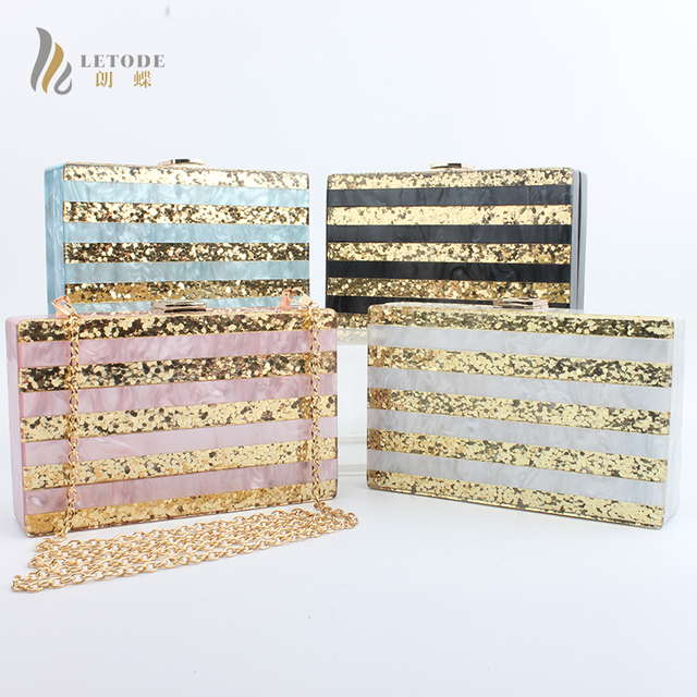 US $24 48 38% OFF|LETODE Stripe Shiny Acrylic Gold Evening Clutch Box Bag  Women Wedding Banquet Party Handbags Chain Shoulder & Crossbody Bags Top-in