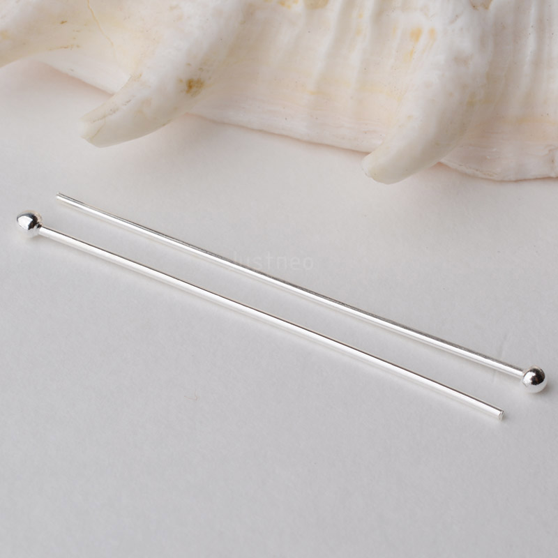 Headpin,solid 925 Sterling Silver Headpin Needle With Ball,dangle Earrings,pendant Silver Jewelry Findings ,1 Piece