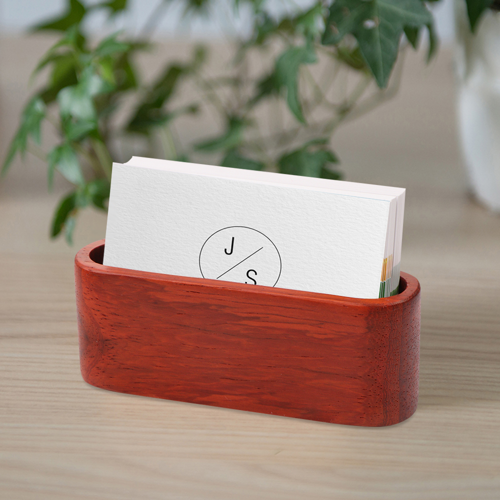 Wooden Business Card Holder Stand Singlepartment Name Card Display  Stand Box Shelf For Desk Desktop