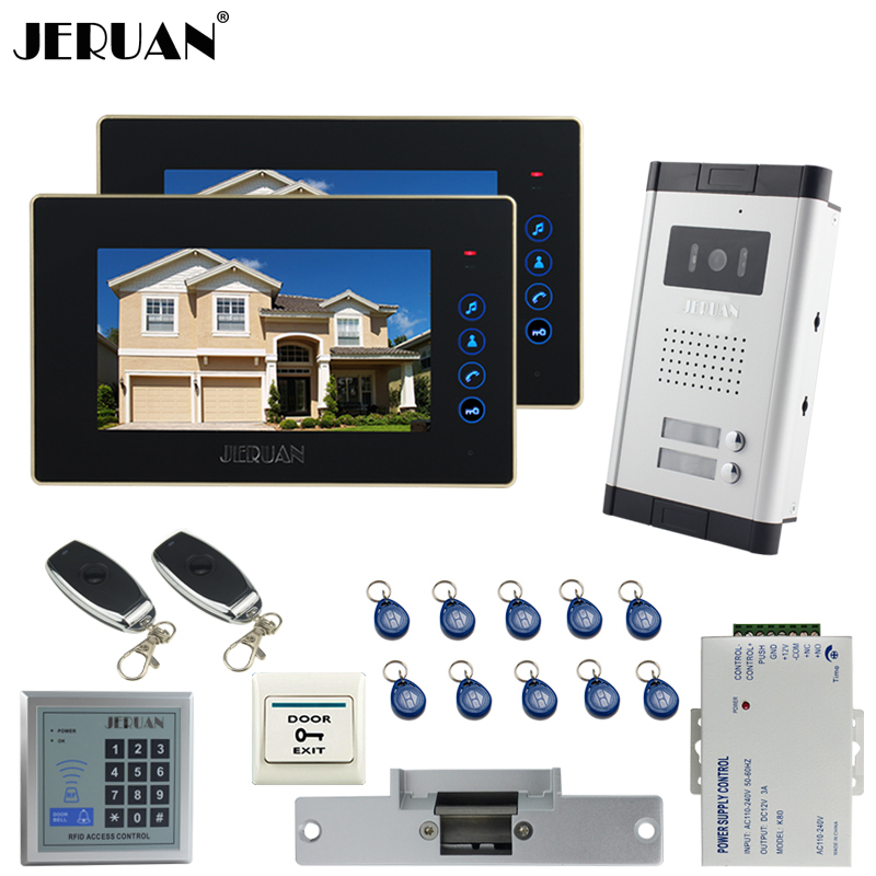 JERUAN 7`` video door phone 2 Touch key Monitor 1 HD Camera Apartment 1V2 Doorbell+RFID Access Control FREE SHIPPING jeruan apartment 4 3 video door phone intercom system kit 2 monitor hd camera rfid entry access control 2 remote control