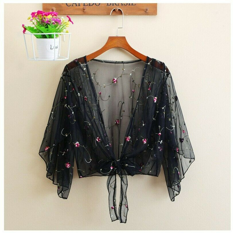 2019 Women Long Sleeve Beach Cover Up Bathing Suit Swimsuit Floral Tops Cardigan Thin Coat Casual Party Outwear Blouse Cover Up
