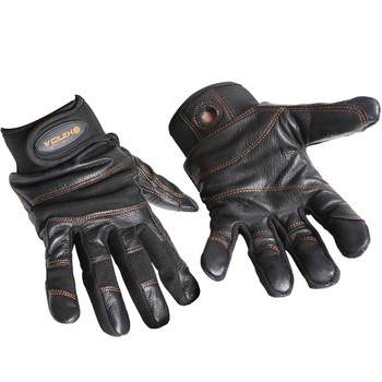 Black outdoor riding hiking mountaineering rappelling climbing cave rescue wear-resistant anti-slip protective leather gloves