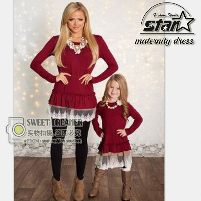 2016 Mommy and Me Fashion Lace Dresses Autumn Mother Daughter Dresses Lace Patchwork Red Long Sleeves Family Matching Outfits