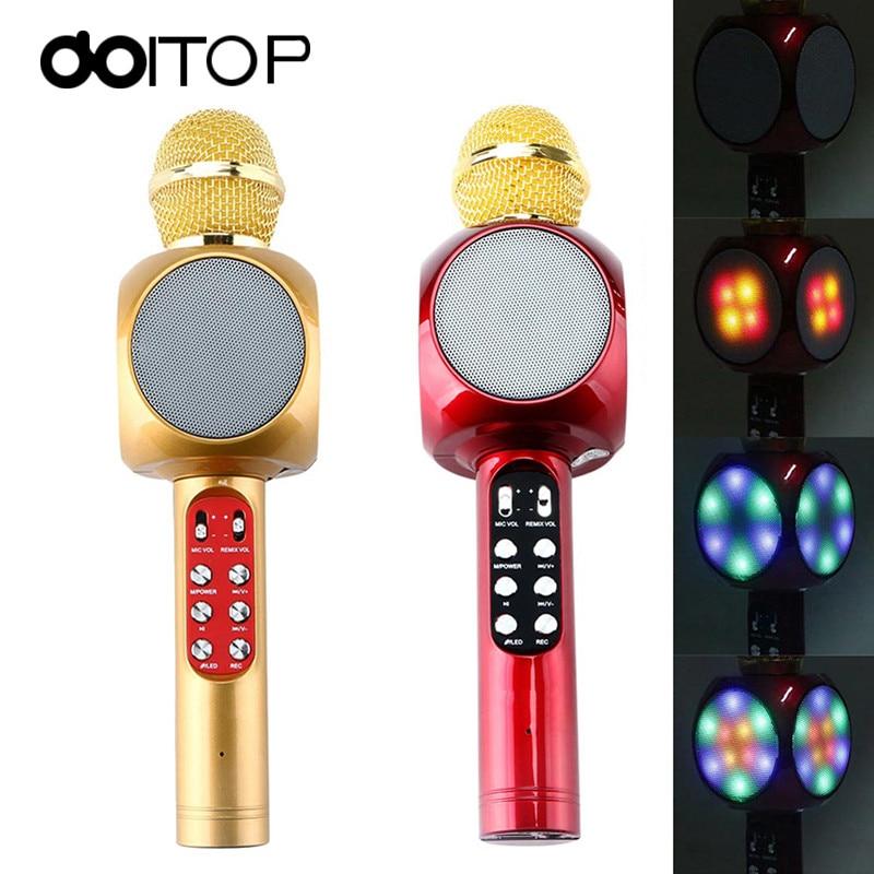 DOITOP Newest WS1816 LED Light font b Microphone b font Wireless Professional Magic Karaoke Player Microfone