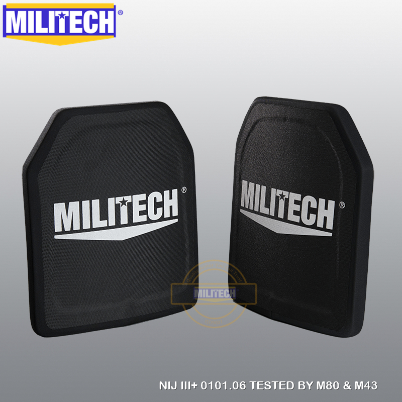 MILITECH Two Pcs 100% NIJ Level III+ 3+ Pure PE Ballistic Body Armor Panels NIJ Level 3 Plus AK47 Bulletproof Armor Plate