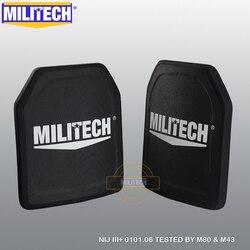 MILITECH dos piezas 100% NIJ Nivel III + 3 + puro PE cuerpo balístico armadura paneles NIJ Nivel 3 Plus placa de armadura a prueba de balas AK47