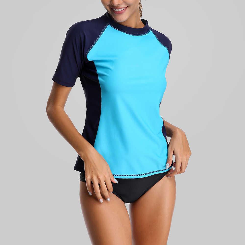 Charmleaks Женский короткий рукав сыпи гидрокуртки Rashguard купальные костюмы топ UPF 50 + рубашка для бега на велосипеде Рубашки купальник