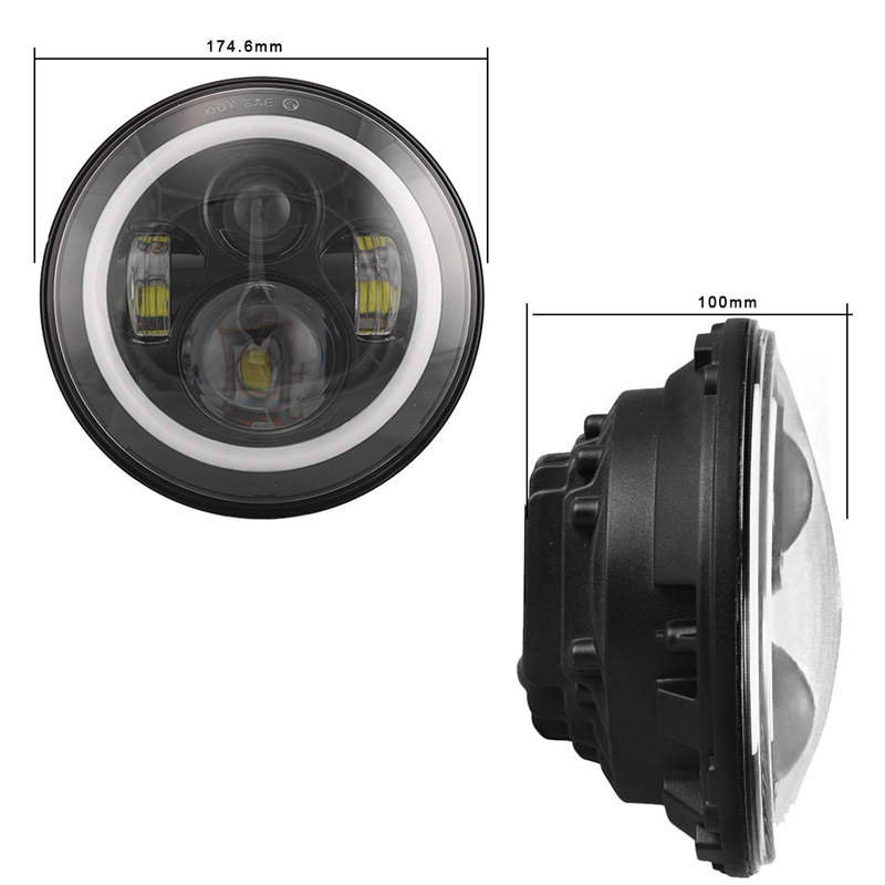 7 Inch Round LED Headlight with green Signal Halo Angle Eyes with DRL Halo for Jeep Wrangler 97-15 7 inch round led headlight with red signal halo angle eyes with white drl halo for 97 15 jeep wrangler
