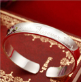 Simple love 999 sterling silver open bangle glossy forever love and flower silver bangle