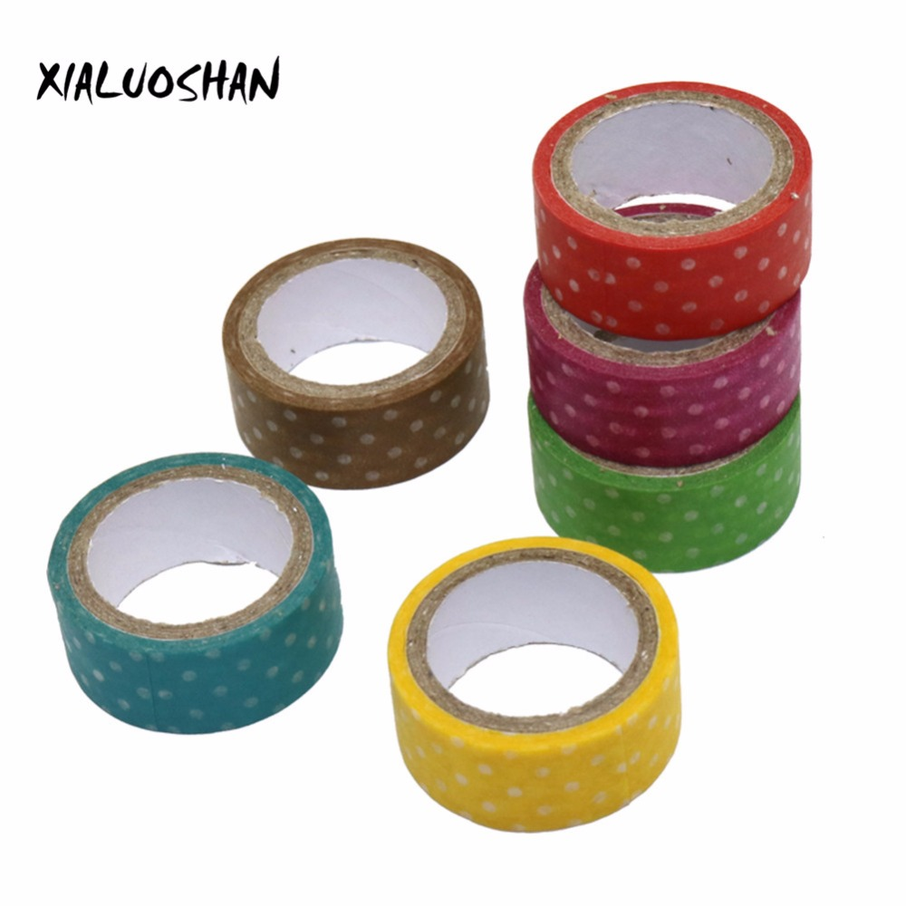 1 Pcs Candy Color Polka Dots Masking Tape Length 3m Washi Packing Adhesive Tape Stationery Decorative Paper Tape