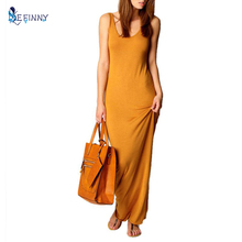 Летнее платье пикантные Для женщин Макси платье с круглым вырезом Повседневное платье без рукавов элегантные Вечеринка длинные платья vestidos