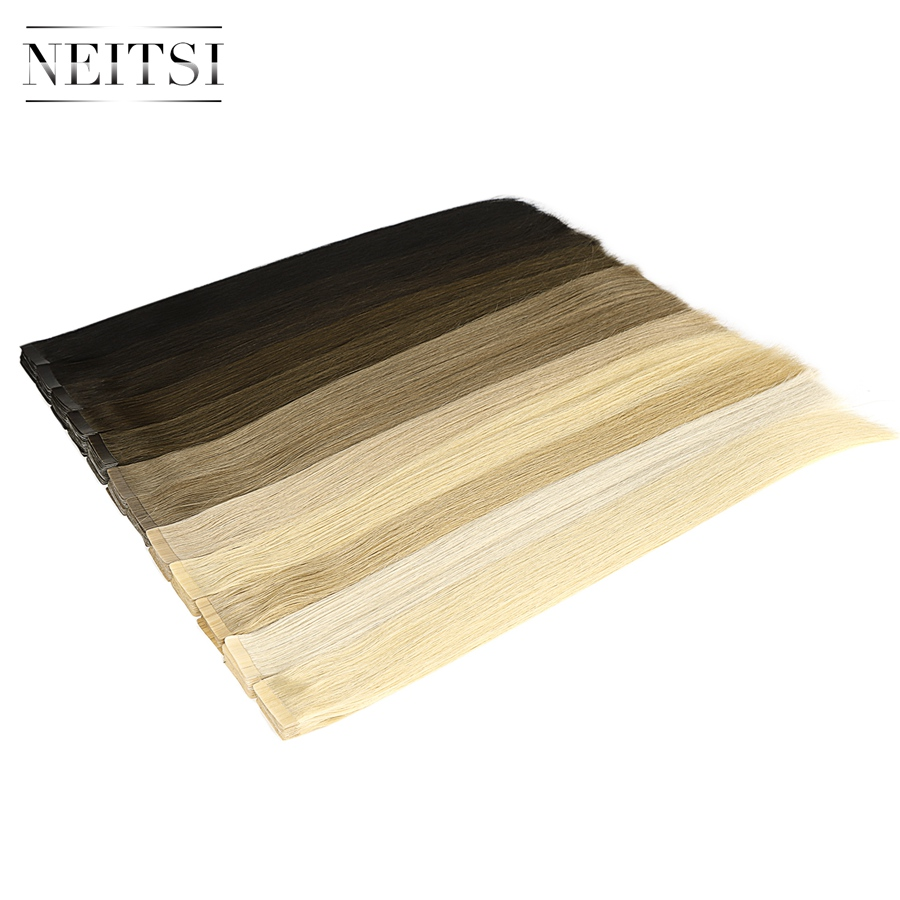 Neitsi Luxury Tape In Remy Human Hair Extensions Double Drawn Adhesive Straight Skin Weft Hair 20'' 2.5g/Pc